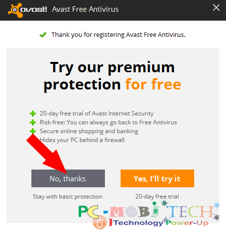 click-on-no-thanks-and-continue-to-register-for-avast-free-antivirus-2017-www-pcmobitech-com
