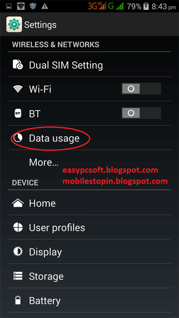 Data-Usage-option