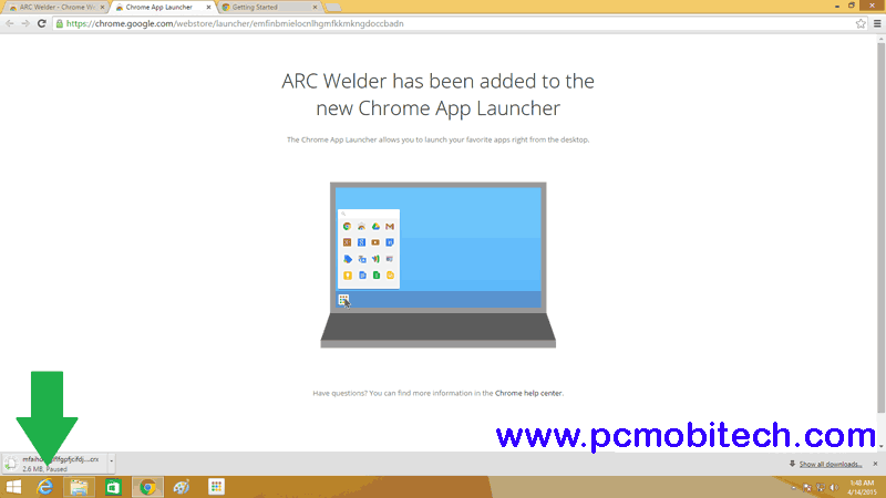 Arc-welder-download-in-progress
