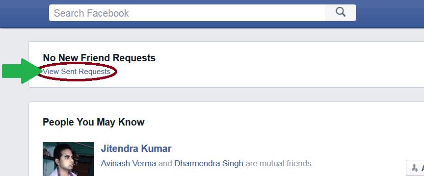 Pending Sent Friend Request :Facebook-View-sent-request-option