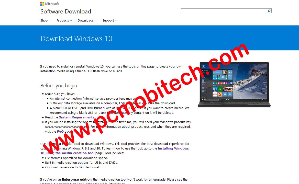Windows 10 Download center