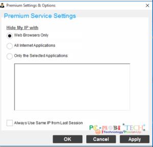 Hide My Ip Premium Settings