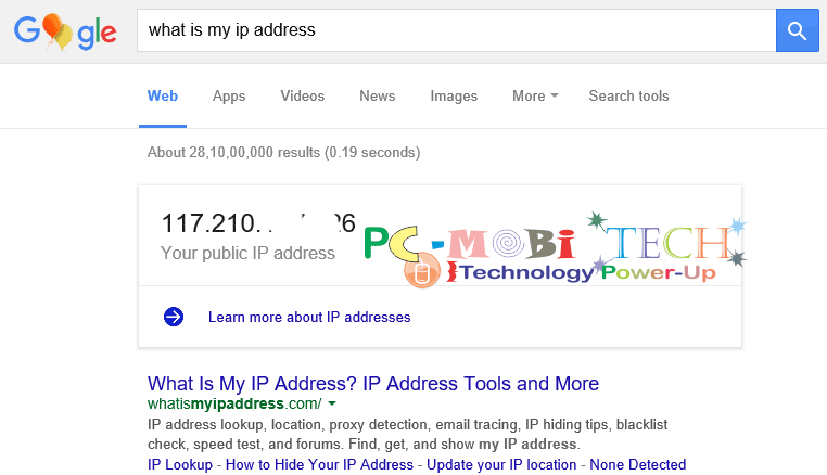how to search ip address in pc