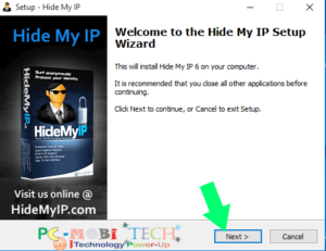 hide my ip Setup started Click on next