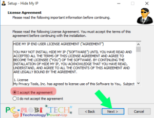Accept License agreement & click on next
