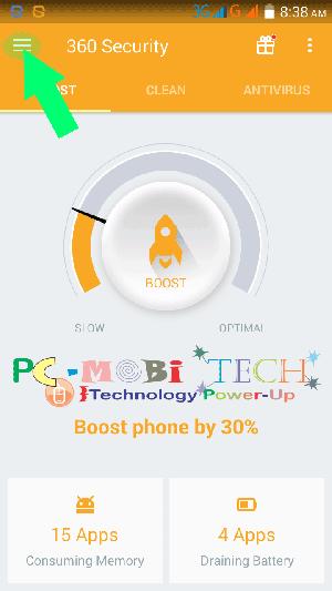 Tap on top left corner in 360 security app