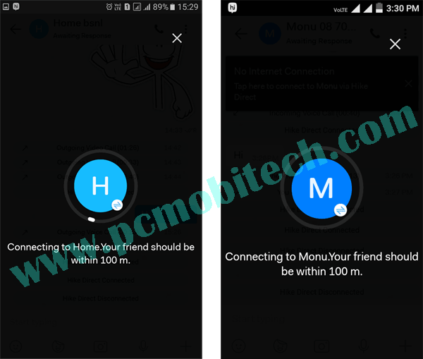 How to use Hike Direct free chatting feature 2