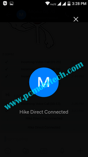 How to use Hike Direct free chatting feature 3