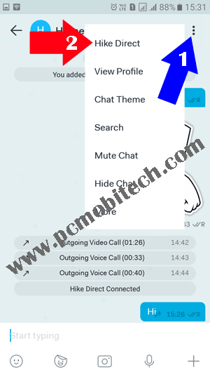 How to use Hike Direct free chatting feature