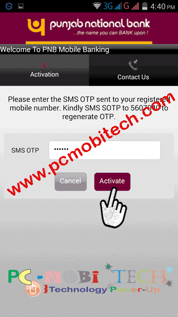 Activate PNB Mobile banking app: Activate-with-otp