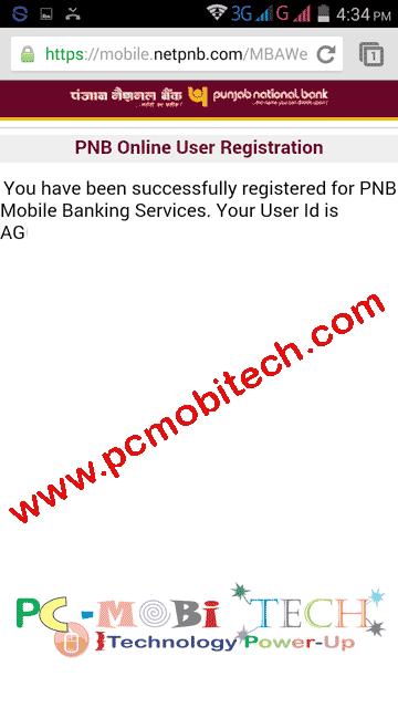 mobile banking pnb online registration