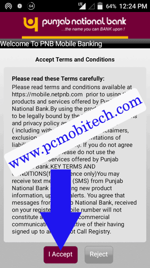 tap on I accept to Agree-PNB-MObile-banking service
