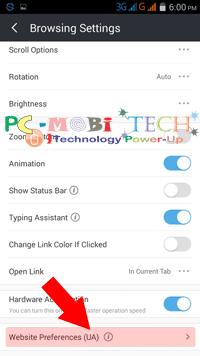 Website-preference-settings