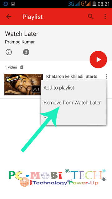 Remove-Video-from- Youtube watch later on Youtube Mobile app