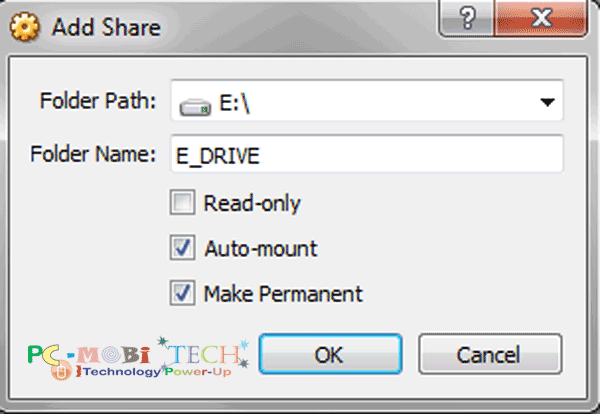 How to share files in VirtualBox: Share-drive-or-folder put url in Path