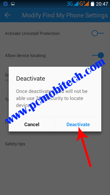 Tap-on-Deactivate-to-deactivation-360-find-phone-protection