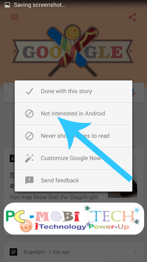 Google-now-tap-on-Not-Interested-in- News Stories -from-android-