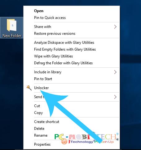 Right click on choose Unlocker