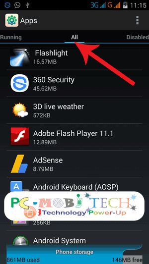 Clear Defaults: Apps-manager-all-apps-tab