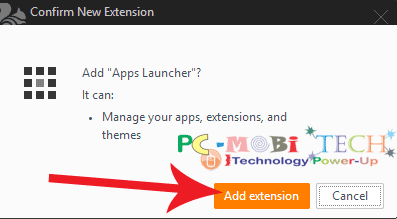 Click-on-Add-extension-button to confirm Apps Launcher installation
