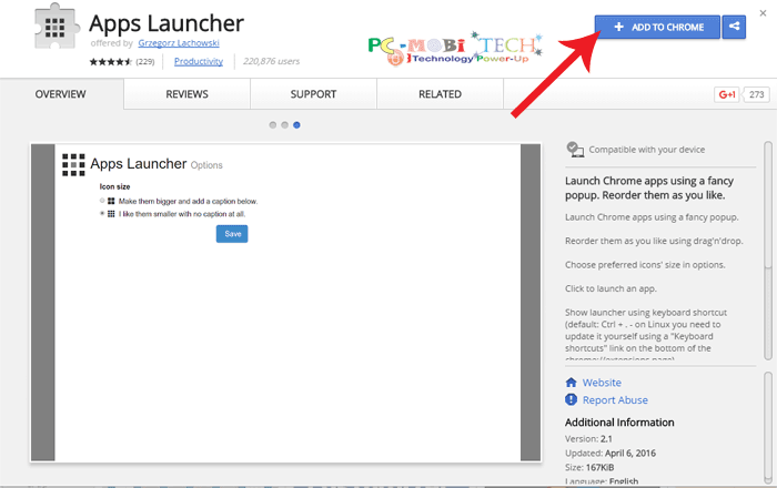 Click-on-Add-to-chrome-button to install Apps Launcher