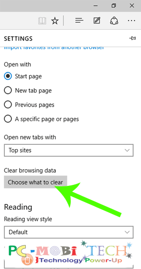 Click on Choose What to clear browsing history in Michrosoft edge Internet-Explorer