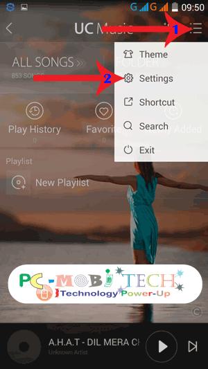 UC Music: Tap-on-3-dot-menu-&-select-setting-from-the-menu