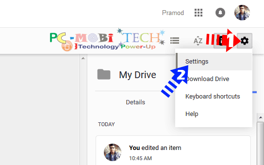Google Drive: Click-on-Settings-gear-icon-&-choose-settings