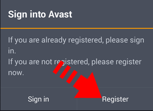 Avast-Anti-theft :Tap-on-Register-button