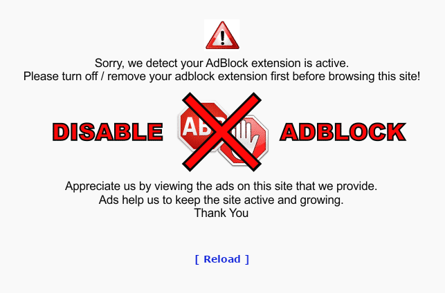 Opera Adblocker: Sorry we detect your Adblock extension is active. Please turn off or remove the Adblock extension before browsing this site first