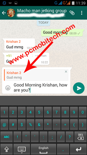 WhatsApp-reply to specific message option with Reply to specific message option.