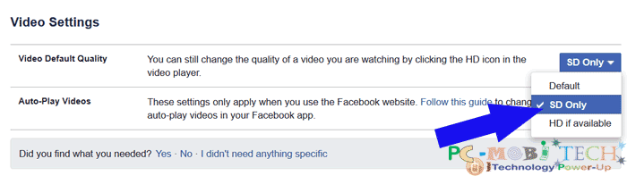 Facebook: Howto change Videos quality and Auto playing settings