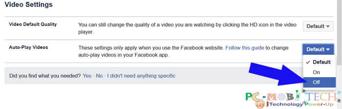 Facebook: Howto change Video play quality and Auto Videos play settings