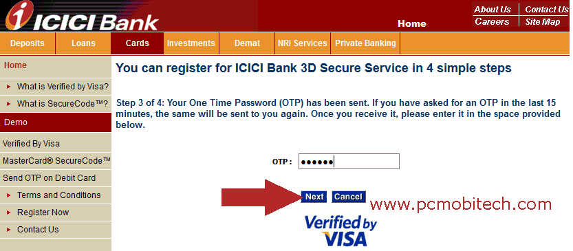 icici-bank-3d-secure-password-pin-creation-and-otp-Submission