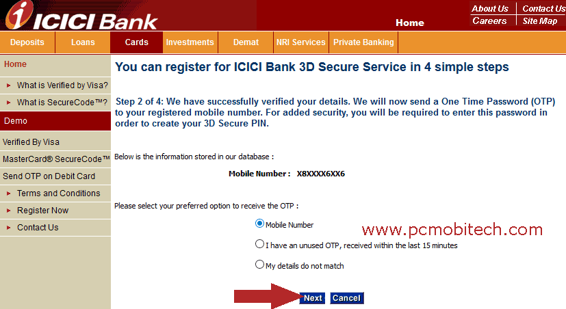 icici-bank-3d-secure-password-pin-creation-and-otp-generation-method-selection
