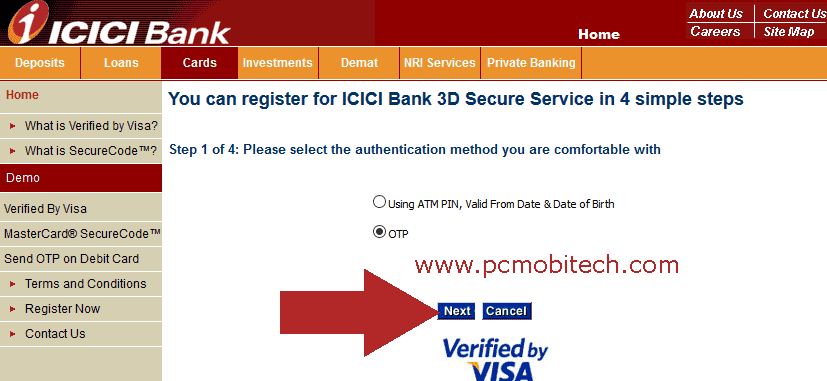 icici-bank-3d-secure-password-pin-creation-and-otp-selection