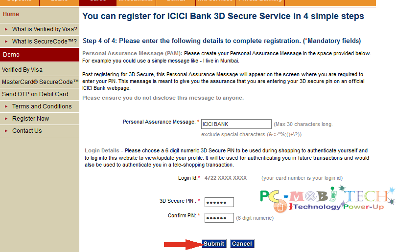 icici-bank-3d-secure-password-pin-creation-and-personal-assurance-message