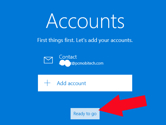 Windows 10 mail setup completed Click-on-ready-to-go