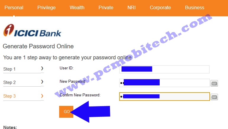 icici-bank-password-reset-enter-new-password-and-confirm-password-click-on-go-button