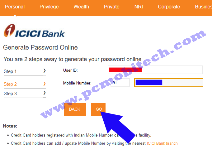 icici-bank-password-reset-enter-your-mobile-number-click-on-go-button