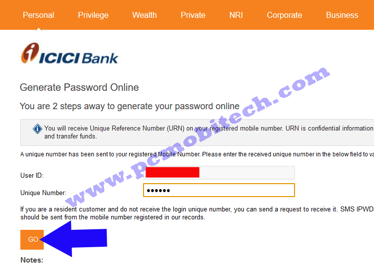 icici-bank-password-reset-enter-your-unique-number-click-on-go-button