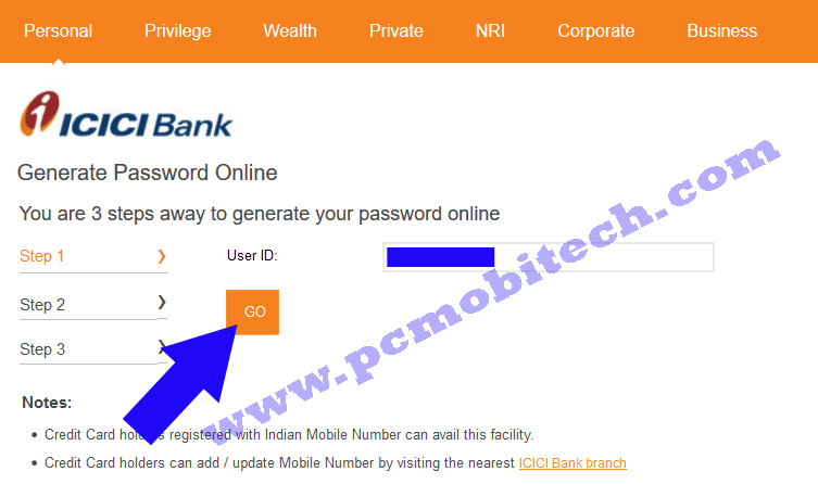 icici-bank-password-reset-enter-your-user-id-click-on-go-button