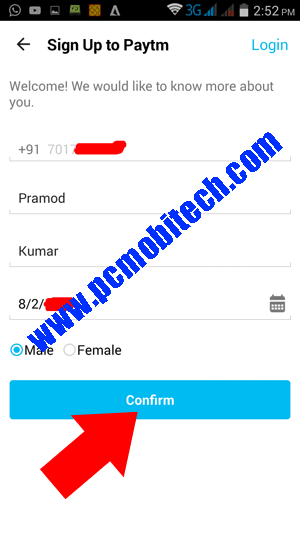 Signup-to-paytm-app