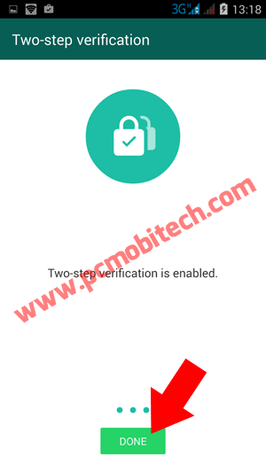 tap-on-done to disable Two-step verification
