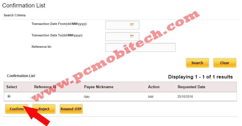 Click on Confirm button to verify PNB Beneficiary