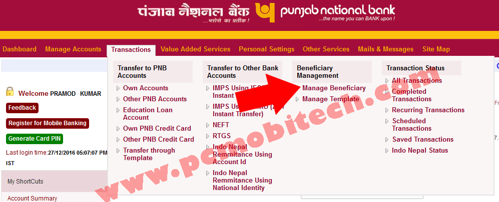 Manage-Beneficiary-Option-in-PNB