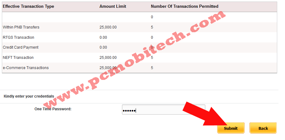 PNB User Set Limit option2