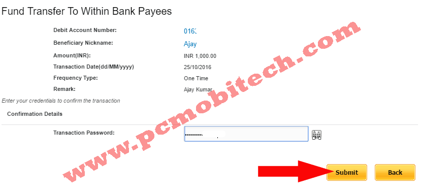 Verify Transaction password to transfer other pnb NEFT transaction
