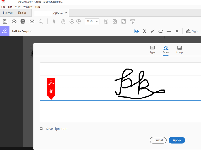 Draw an Electronic signeture on a pdf document using Adobe reader