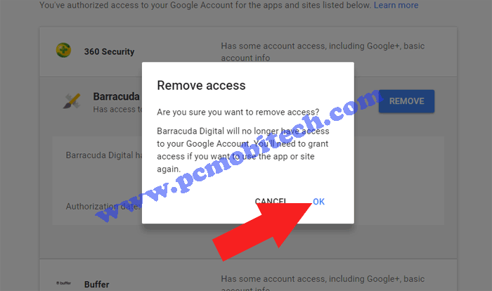 Madison : Remove app permission from google account